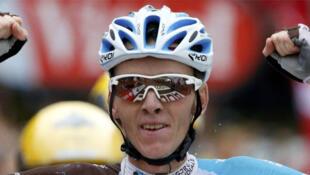 Romain Bardet, ganador de la etapa 19 del Tour de France al pie del Mont Blanc, el 22 de julio de 2016.