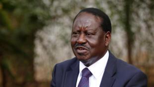 Le leader de l'opposition à Nairobi, le 7 septembre 2017. Raila Odinga a mis en cause l'entreprise française Safran, dont l'ex-filiale Morpho avait fourni les kits de reconnaissance biométrique des électeurs.