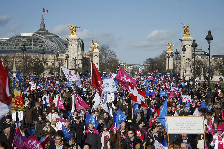 La «Manif pour tous» version 2014, à Paris, le 2 février 2014.