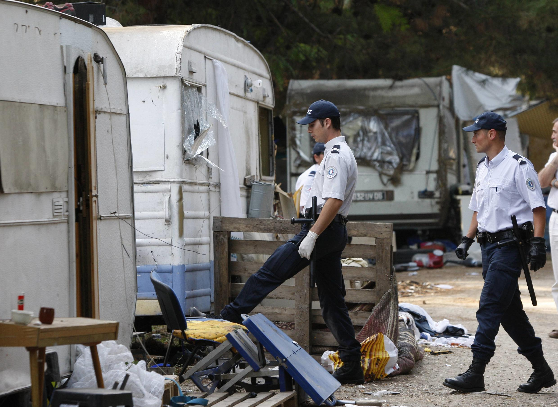 Expulsão de famílias romenas em Aix-en-Provence, no sul da França.
