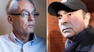 Greg Kelly (à gauche) ancien collaborateur de Carlos Ghosn (dr) sera seul dans le box des accusés.