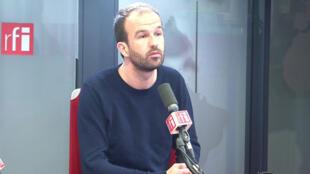 Manuel Bompard, chef de délégation de la France insoumise au Parlement européen dans les studios de RFI, le 14 février 2020.