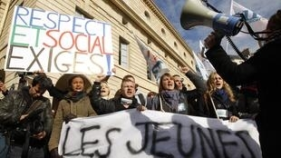 French university students attend a demonstration.