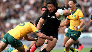 Don't stop me now: New Zealand's Caleb Clarke makes a break during the Bledisloe Cup match