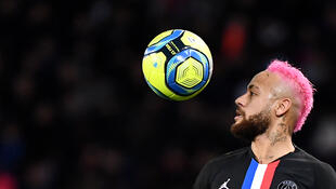 Paris Saint-Germain's Brazilian forward Neymar controls the ball during the French L1 football match between Paris Saint-Germain (PSG) and Montpellier Herault SC at the Parc des Princes stadium in Paris, on February 1, 2020.