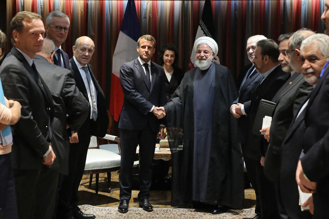 Presidentes, francês, Emmanuel Macron e iraniano, Hassan Rohani, em Nova Iorque, a 23 de setembro de 2019.