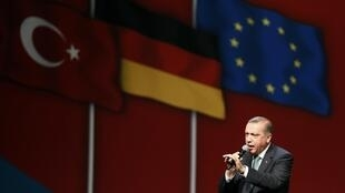 Turkish Prime Minister Erdogan talks to supporters on visit to Cologne, Germany