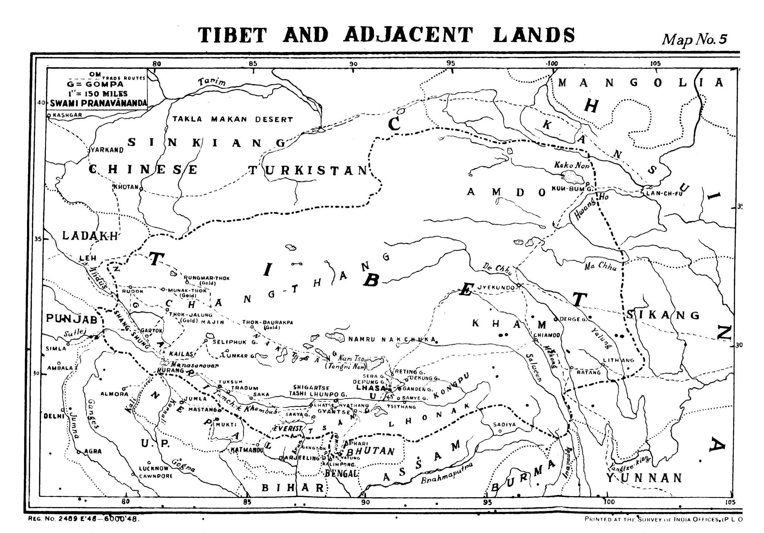 This 1949 map by the Survey of India shows the boundaries of the Tibetan regions at that time. Neither India, nor the UK ever officially recognised Tibet's independence.