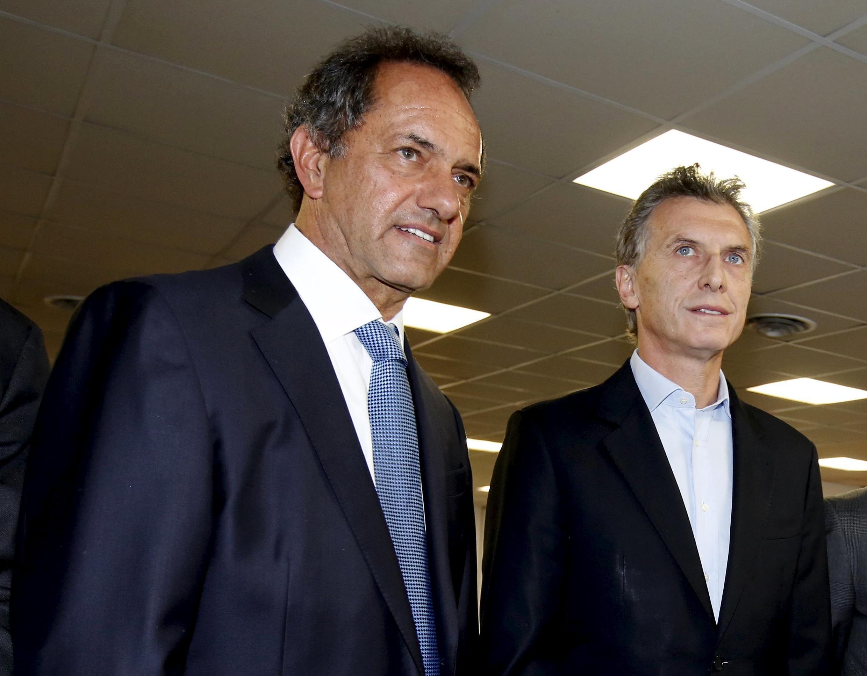 Daniel Scioli et Mauricio Macri sont les deux candidats des élections présidentielles en Argentine réunissant le plus de votes. Second tour, le 22 novembre 2015.
