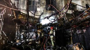 Un incendie à l'hôpital Sina Athar, dans le nord de Téhéran, le 30 juin 2020.