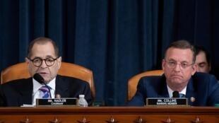 Chủ tịch Ủy Ban Tư Pháp Hạ Viện Mỹ, Jerrold Nadler (T) trong phiên điều trần tại Hạ Viện theo thủ tục phế truất tổng thống, Washington, ngày 04/12/2019
