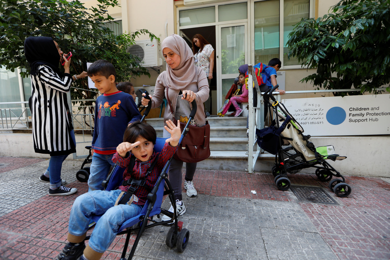 Réfugiés syriens en Grèce.