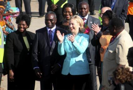 Hillary Clinton de visita à Zambia