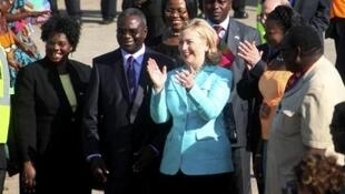 Zambian President Rupiah Banda with US Secretary of State Hillary Clinton