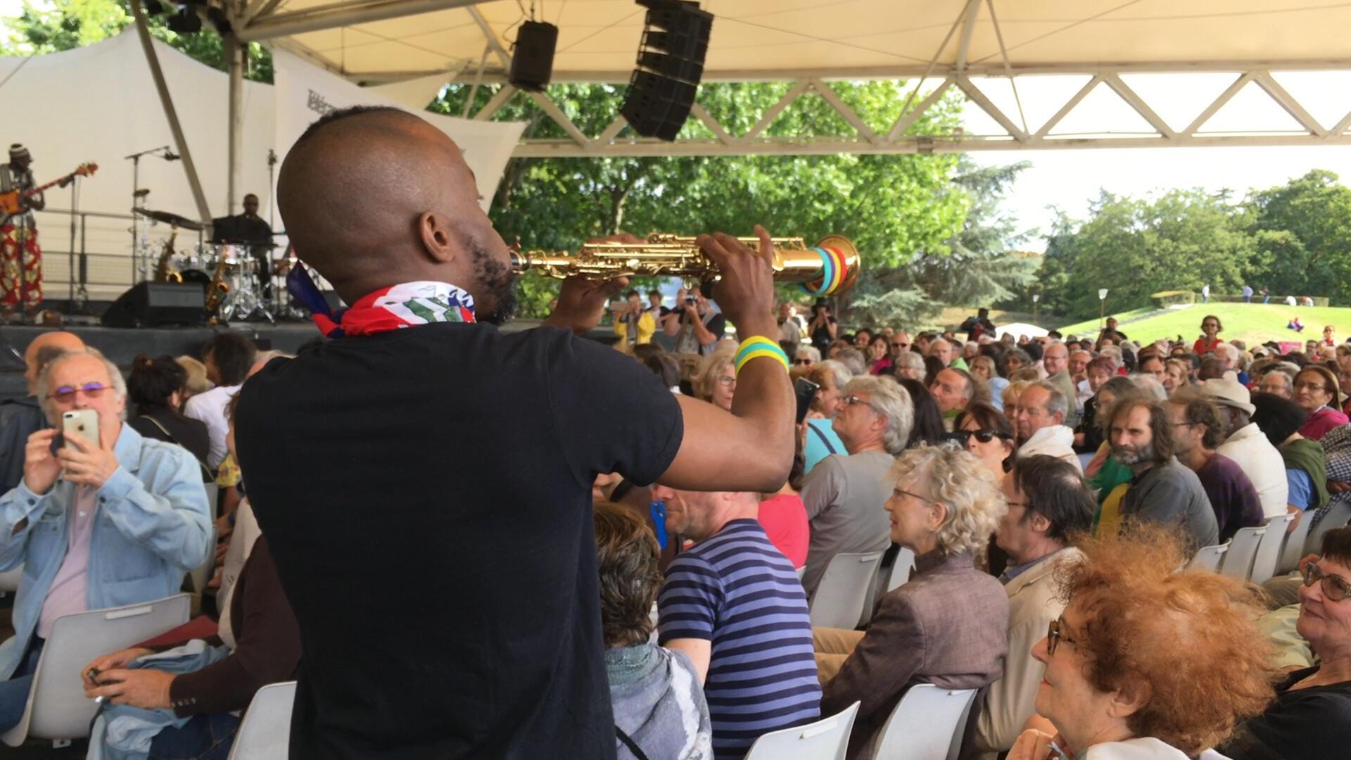Jowee Omicil performs at the Paris Jazz Festival, Parc Floral, August 2019