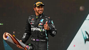 Le Britannique Lewis Hamilton vainqueur du GP de Turquie, à Istanbul, le 15 novembre 2020