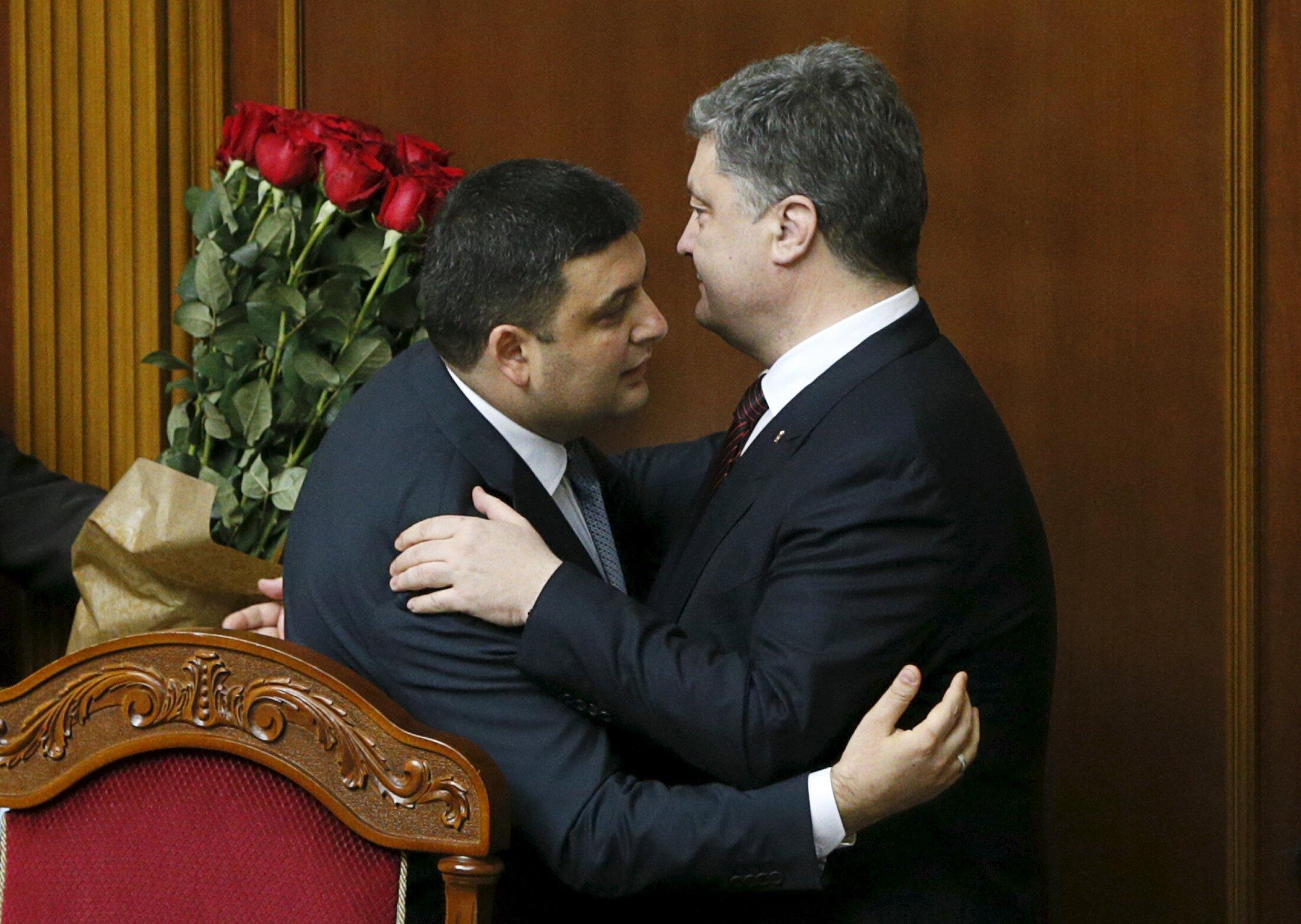 Президент Украины Петр Порошенко и новый премьер Владимир Гройсман в Верховной Раде 14 апреля 2016