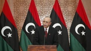 El primer Ministro libio, Abdurrahim El-Keib, durante la celebración del día de la Independencia.