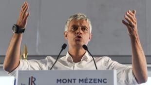 Republicans (LR) leader Laurent Wauquiez at Sunday's rally