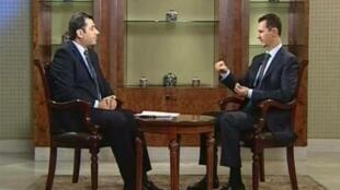 Capture d'écran de l'entretien accordé par Bachar el-Assad à la chaîne Addounia.