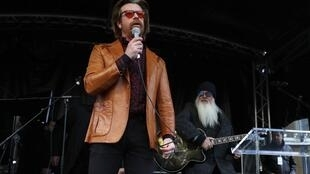 Singer Jesse Hughes (L) and guitarist Dave Catching of Eagles of Death Metal played a surprise show in Paris on November 13, 2017 to mark the second anniversary of the Paris attacks that left 130 dead.