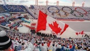 La cérémonie d'ouverture des Jeux olympiques de Calgary en 1988.