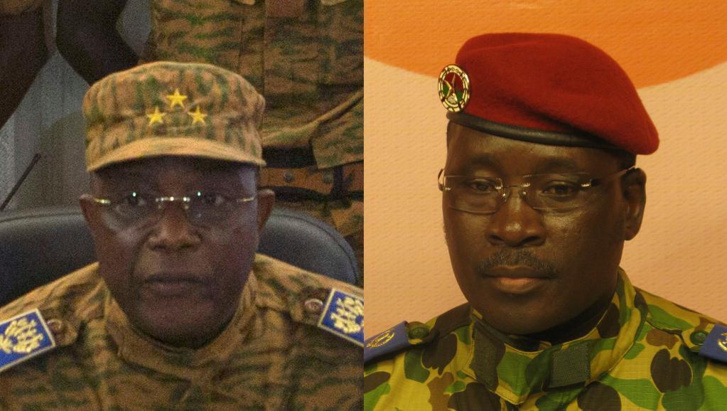 O general Honoré Traoré (à esquerda) anunciou a nomeação de Isaac Zida (à direita) para chefiar a transição em Burkina Fasso.