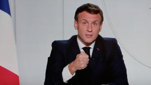 El presidente de Francia, Emmanuel Macron, comparece ante la TV para anunciar el 28 de octubre de 2020 un confinamiento nacional debido al avance de la segunda ola del coronavirus