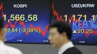 2010年二月五日亚洲股市狂泻导致欧洲股市下滑。图为韩国l一家银行的股市交易厅。