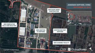 Ảnh vệ tinh chụp xưởng đóng tàu Giang Nam (Jiangnan), Thượng Hải, Trung Quốc, ngày 18/09/2019