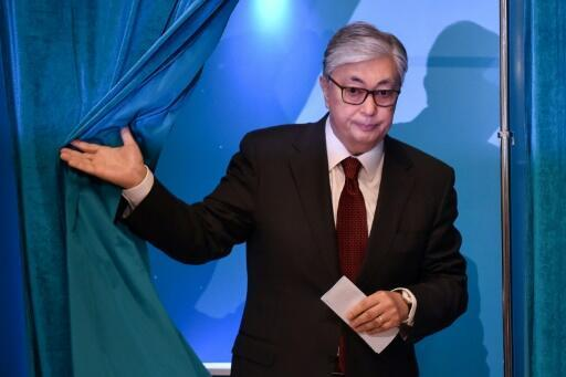"""Kazakh President  Kassym-Jomart Tokayev voted early but acknowledged his predecessor Nursultan Nazarbayev """"was still in power in the capacity of chairman of the security council... and other capacities"""""""