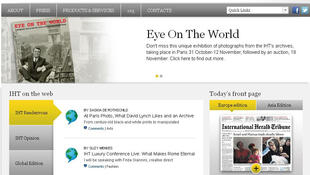 A screen grab of the International Herald Tribune