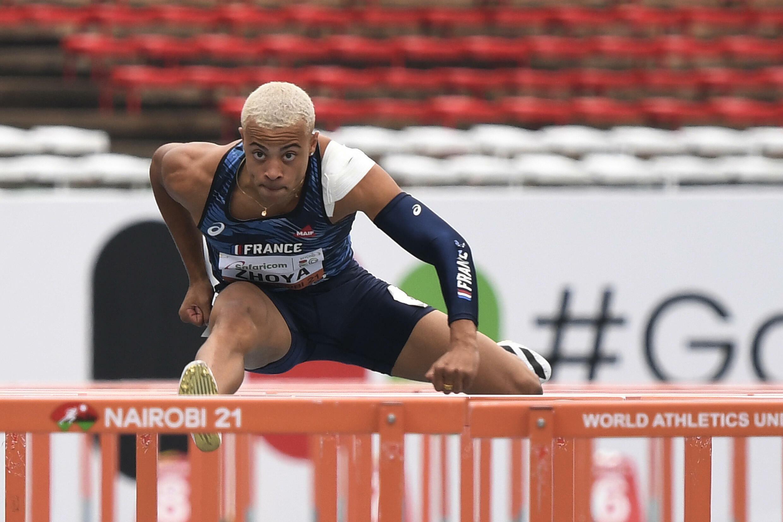 Sasha Zhoya heading for an age group world record in the men's 110m hurdles heats during the U20 World Athletics Championships in Nairobi