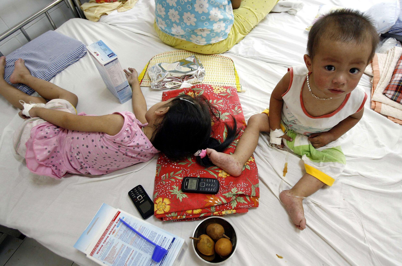 Một bệnh nhân trẻ em bị nhiễm HIV tại bệnh viện Nhi đồng 1