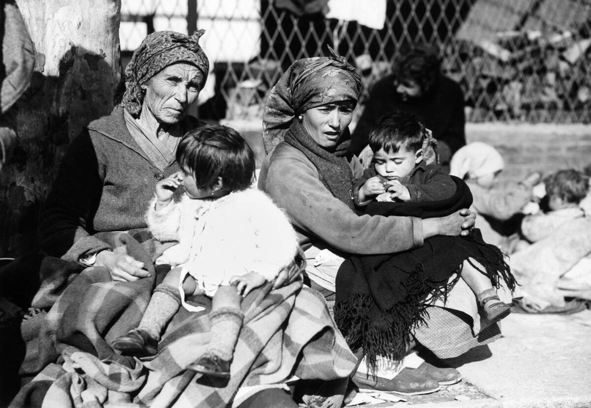 Refugiados en la estación de Le Boulou, Francia, el 30 de enero de 1939.