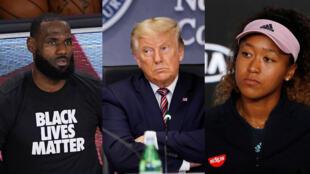Le basketteur américain LeBron James, le président américain Donald Trump et la tenniswoman japonaise Naomi Osaka.