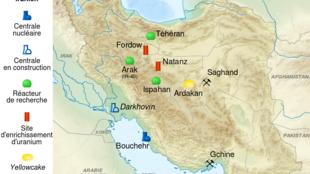 La carte des installations nucléaires iraniennes.