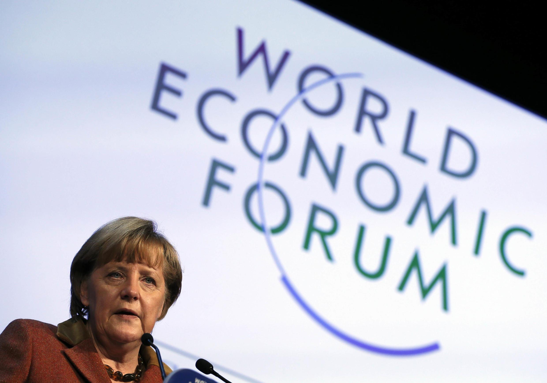 A chanceler alemã Angela Merkel nesta quinta-feira, em Davos