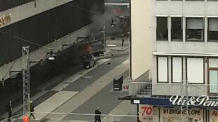 斯德哥尔摩卡车撞人恐怖案现场2017年4月7日