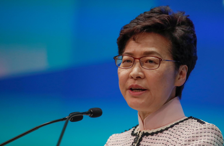 香港特首林鄭月娥2019年10月16日在一次記者會上。