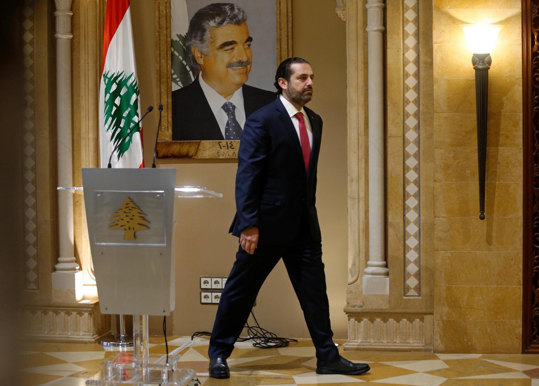 Lebanon's Prime Minister Saad al-Hariri leaves after a news conference in Beirut, Lebanon October 29, 2019