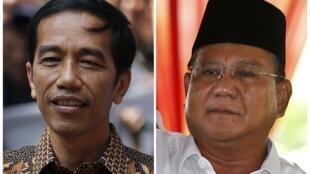 Le nouveau président Joko Widodo (g.) et le candidat malheureux Prabowo Subianto.