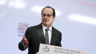 Tổng thống Pháp Francois Hollande phát biểu tại Hội Đồng Cấp Cao về Bình Đẳng Giới (HCEfh), nhân ngày 08/03/2016