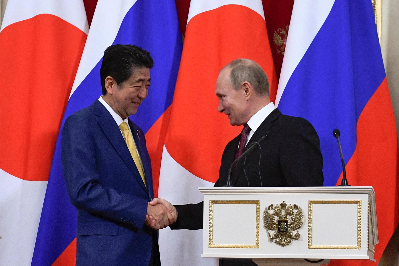 普京與安倍在克里姆林宮舉行會談後發表聯合聲明 2019年1月22日