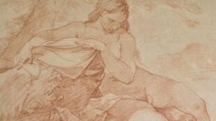 Boceto representando a Diana, tomando su baño y siendo sorprendida por Actéon.  Charles Joseph Natoire (1700-1777), Sanguina.