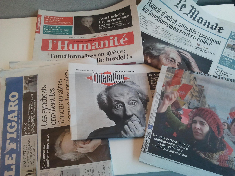 Primeiras páginas dos jornais franceses de 10 de outubro de 2017