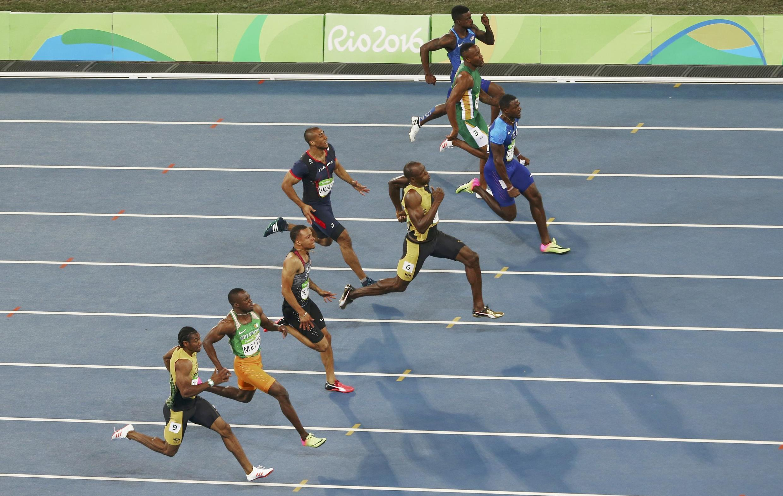 O jamaicano Usain Bolt durante a prova dos 100 metros rasos no Rio de Janeiro.