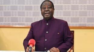 L'ancien chef de l'État ivoirien et président du PDCI, Henri Konan Bédié, lors d'un meeting à Daoukro, le 19 avril 2018, durant lequel il annonce que son parti présentera un candidat pour la présidentielle de 2020.