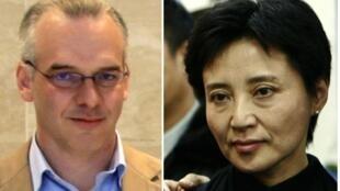 O empresário britânico assassinado, Neil Heywood,  e Gu Kailai, acusada de tê-lo envenenado.