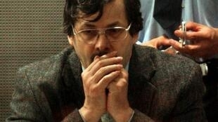Belgian paedophile Marc Dutroux sits in the dock, in the courtroom in the southeastern Belgian town of Arlon 21 June 2004.